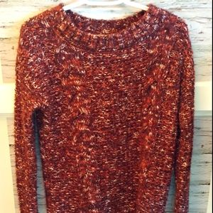 XS Garage Cable Knit Maroon Crew Neck Sweater